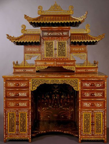 Chinese Desk Displayed at the 1904 World's Fair. Desk made in Ningpo, China ca. 1904 combining Chinese materials and Chinese architectural style with Western desk form.