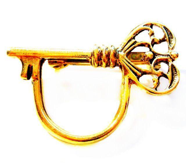 Antique Brooch Pin Eyeglass Holder Gold Finish: Gold Key Eyeglass Holder Brooch / Pin