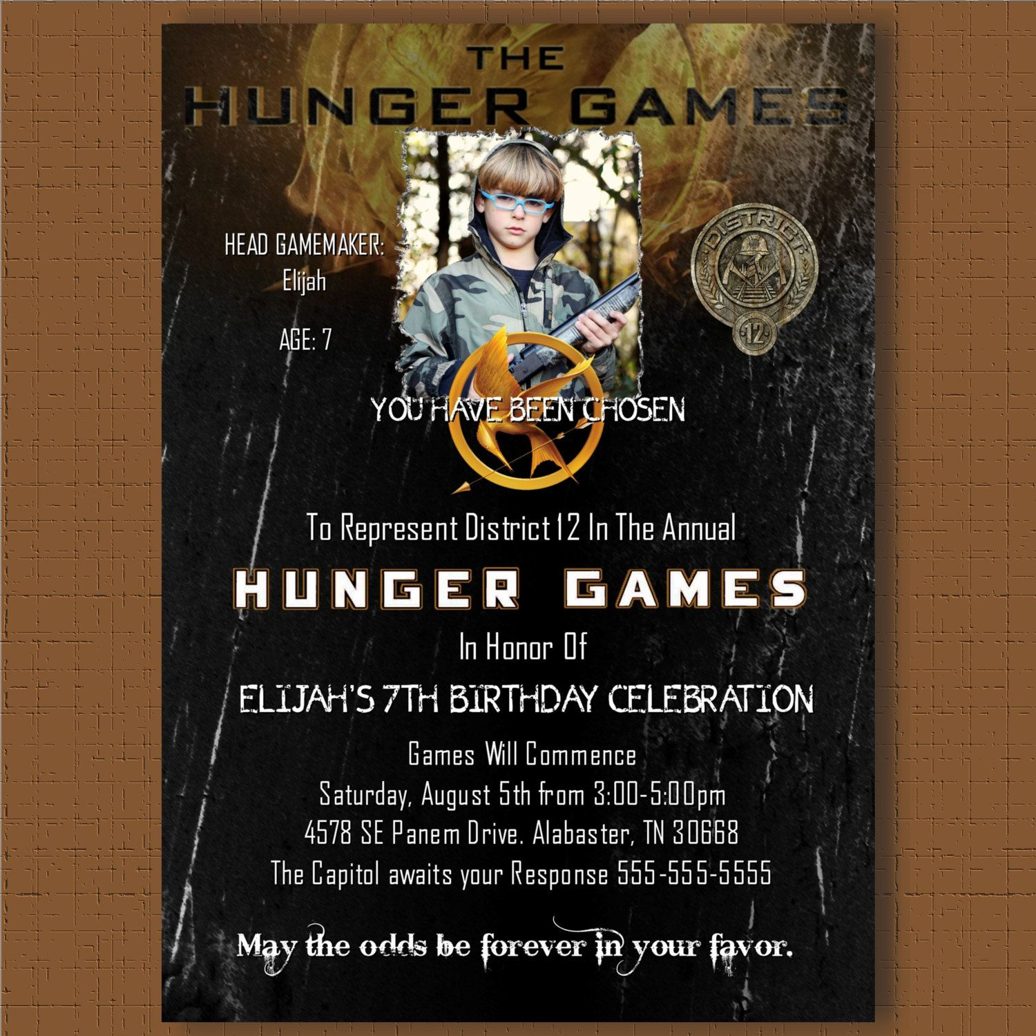 HUNGER GAMES Invitation Birthday Party Card personalized printable