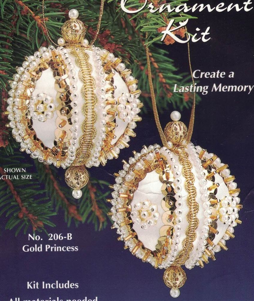 2 Sulyn Gold Princess Christmas Bead Sequin Ornament Kits Makes 4