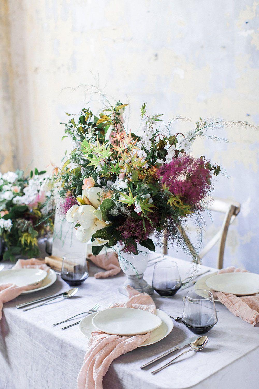 La Tavola Fine Linen Rental: Velvet Grey   Photography: Koral Bleu Photography, Event Design: Magnolia & Grace Events, Florist: Pine State Flowers, Paper Goods: Pretty Together, Tabletop: Cottage Luxe