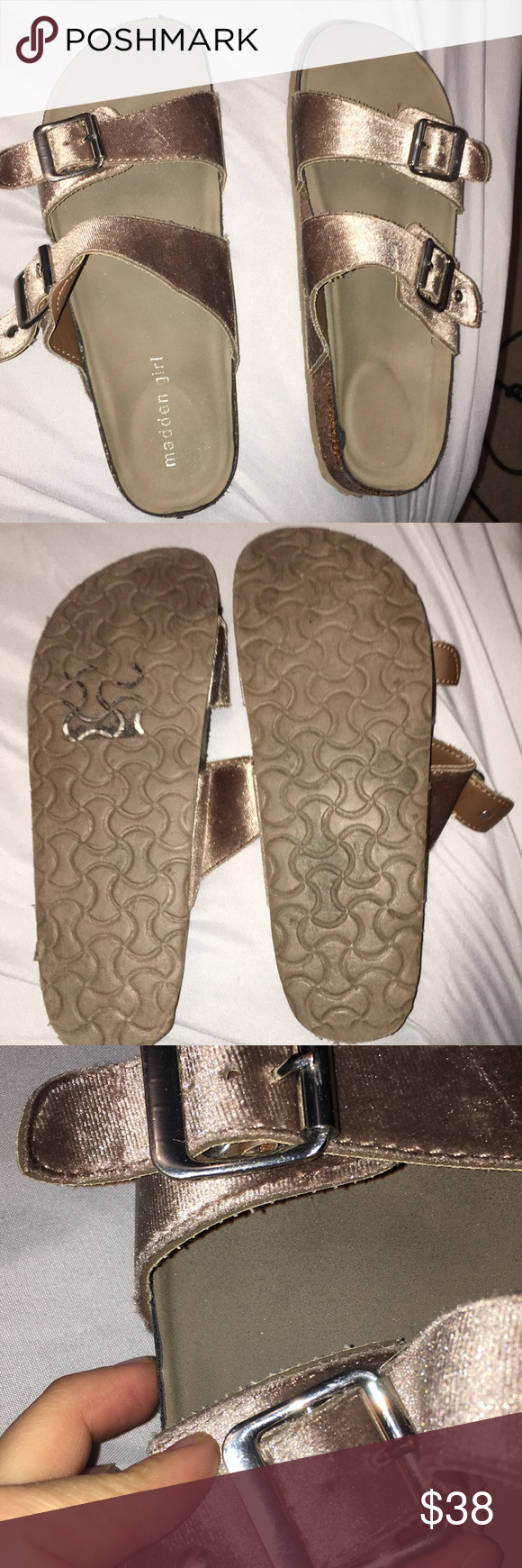 234d6e732348 Madden girl sandals.  lookalike Birkenstocks  These sandals are slightly  worn. Logo on heel is only barely visible and the fabric has peeled a tiny  bit on ...