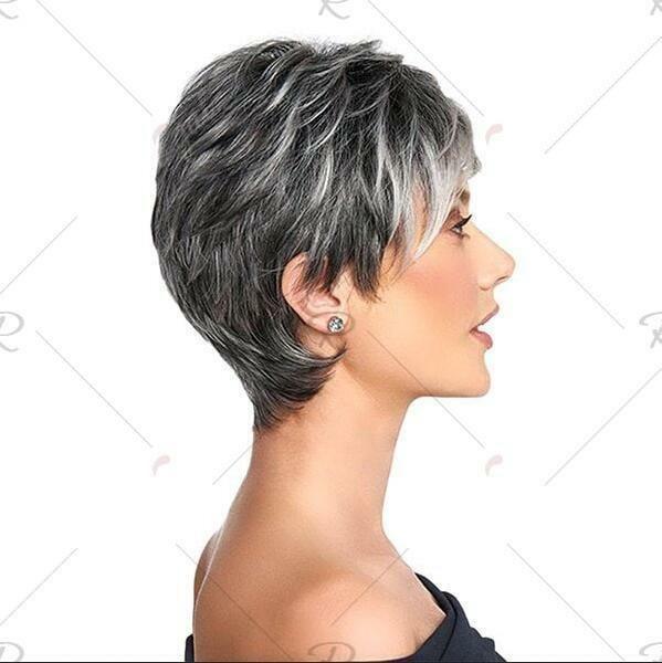 Attraktiv Dame Perücke Kurz Glatt Haar Grau Weiß Synthesis Mode Perücke… – Haarpflege Frisuren