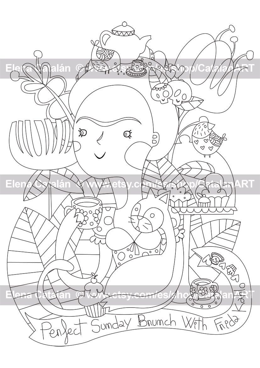Perfect Sunday brunch with Frida Kahlo - Adult Printable Colouring ...