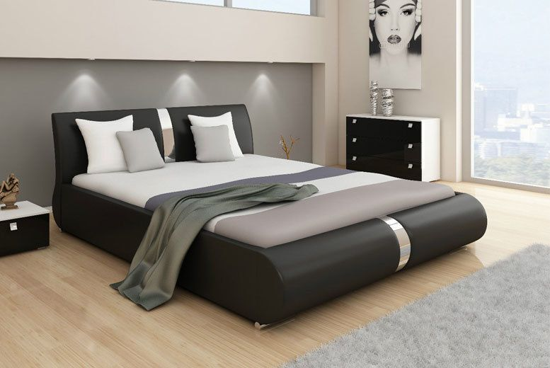 Modern Italian Designer Faux Leather & Chrome Bed – 2 Sizes! | Bed ...