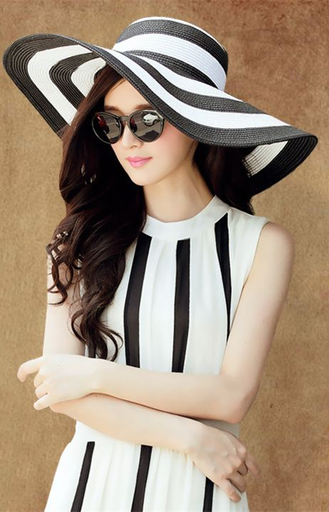bc0ab2f0 New Fashion Women Lady's Summer White and Black Stripes Big Wide Brim  Floppy Straw Beach Hats Sun Cap