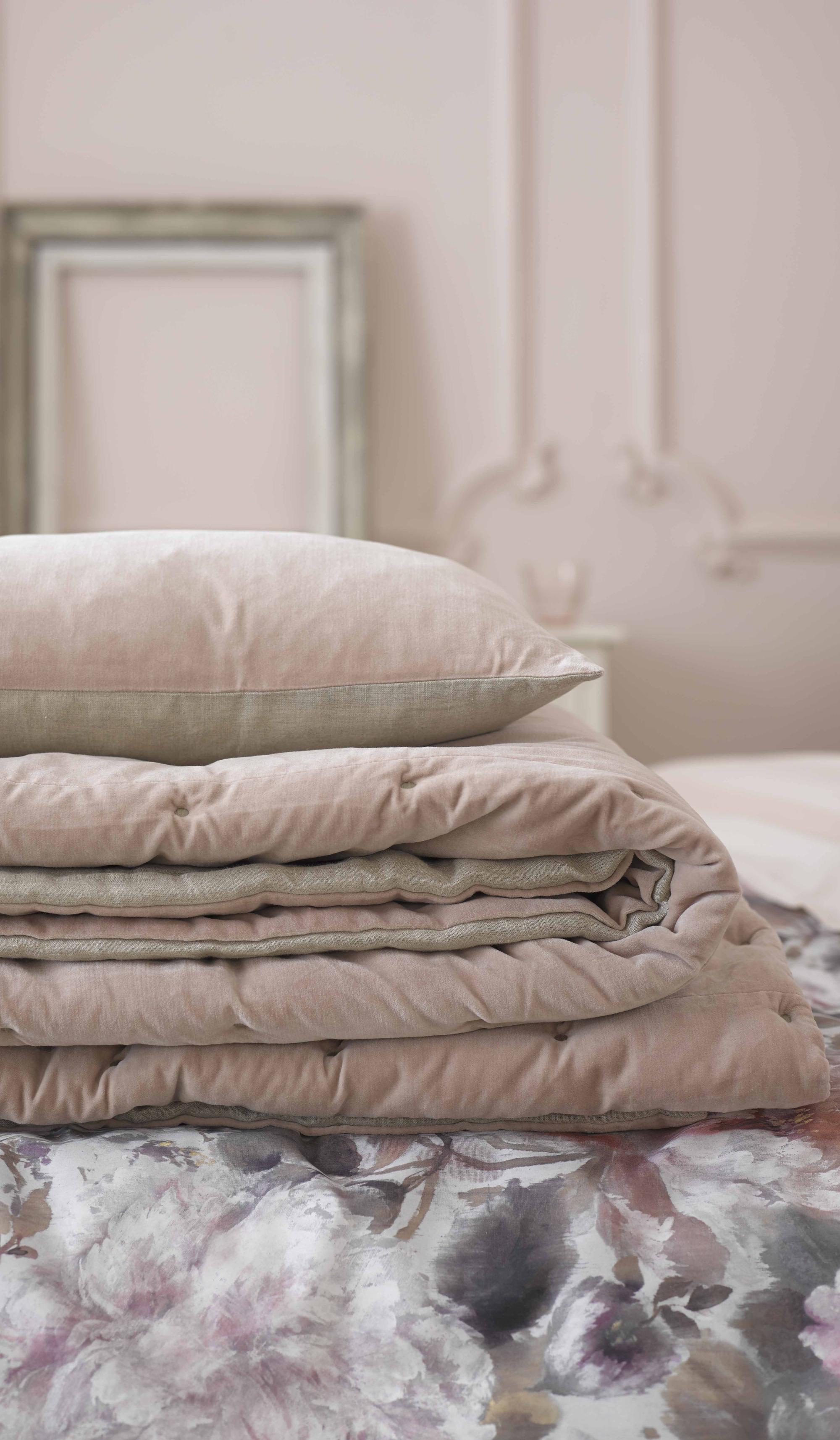 Velvet and linen cushion cover