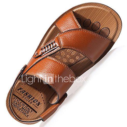 fef0243e8c4003 Men s Sandals Spring Summer Light Soles Comfort Leather Outdoor Office    Career Casual Flat Heel Rivet Buckle Black Brown Khaki Walking - USD  19.99  !