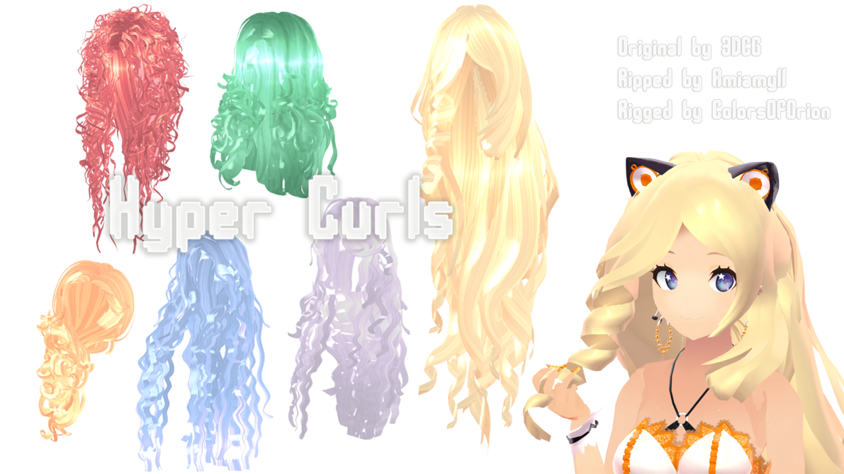 Mmd Parts Hair Hyper Curls By Colorsoforiondeviantartcom On