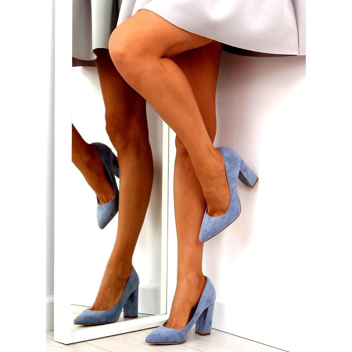 Czolenka Na Slupku Niebieskie R123p Blue Heels Pumps Shoes