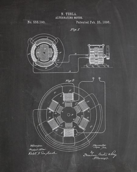Tesla ac motor patent print tesla motors tesla ac motor patent print steampunk artworktesla motorsnikola malvernweather Images
