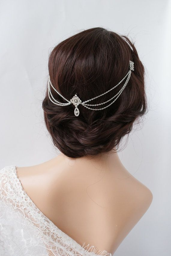 1920s wedding headpiece with swags vintage bridal headpiece hair chain style accessory 1920s