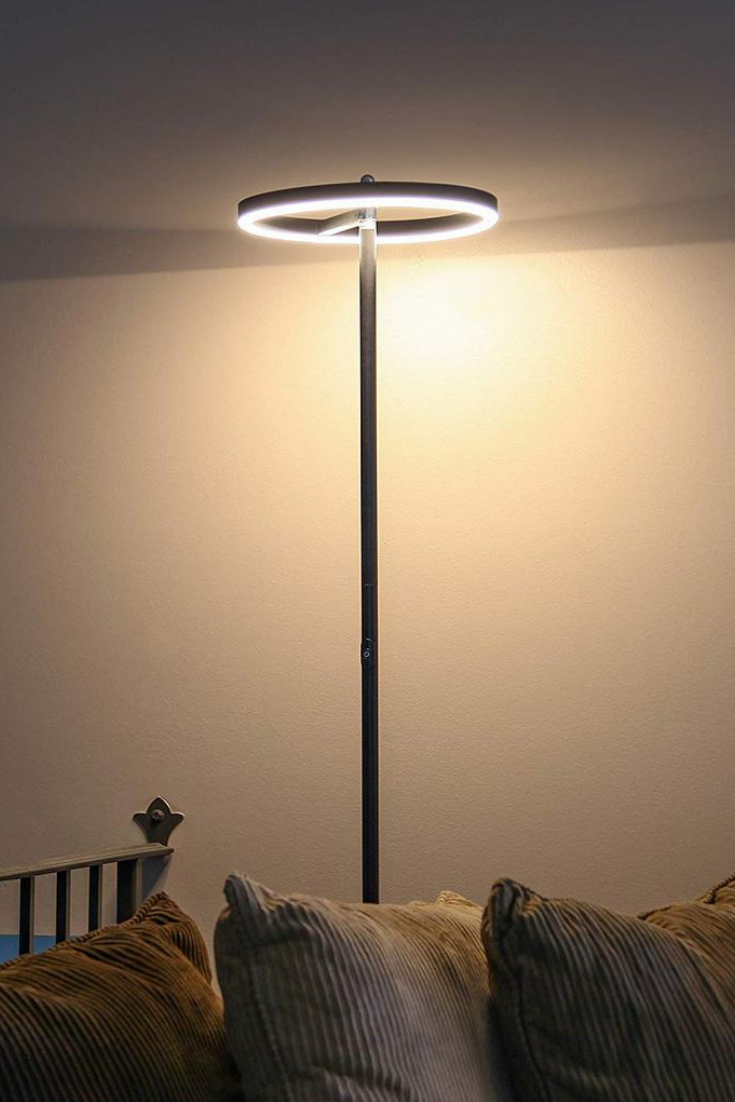 Halo Led Torchiere Super Bright Floor Lamp The Slender Halo Slides Unobtrusively Into Narrow Corner Bright Floor Lamp Modern Living Room Lighting Floor Lamp