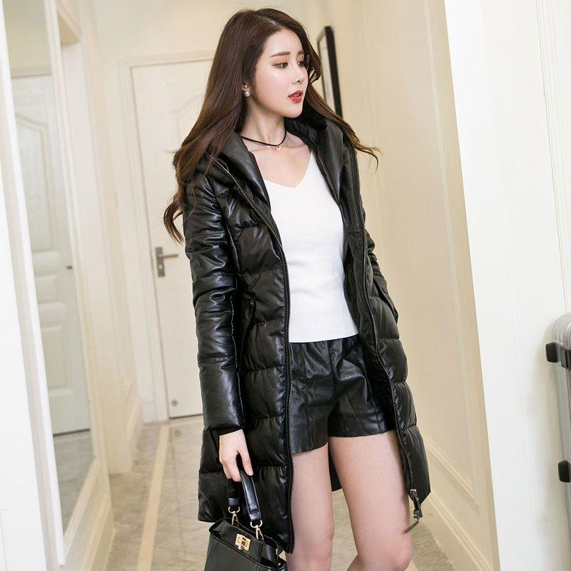 28a92f20c 2018 Women Long Black Genuine Leather Down Jacket Plus Size XXXL ...
