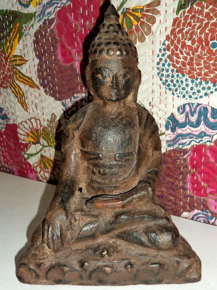 INDIA ANTIQUE OLD RARE COLLECTIBLE HAND CARVED VINTAGE WOODEN LORD BUDDHA STATUE