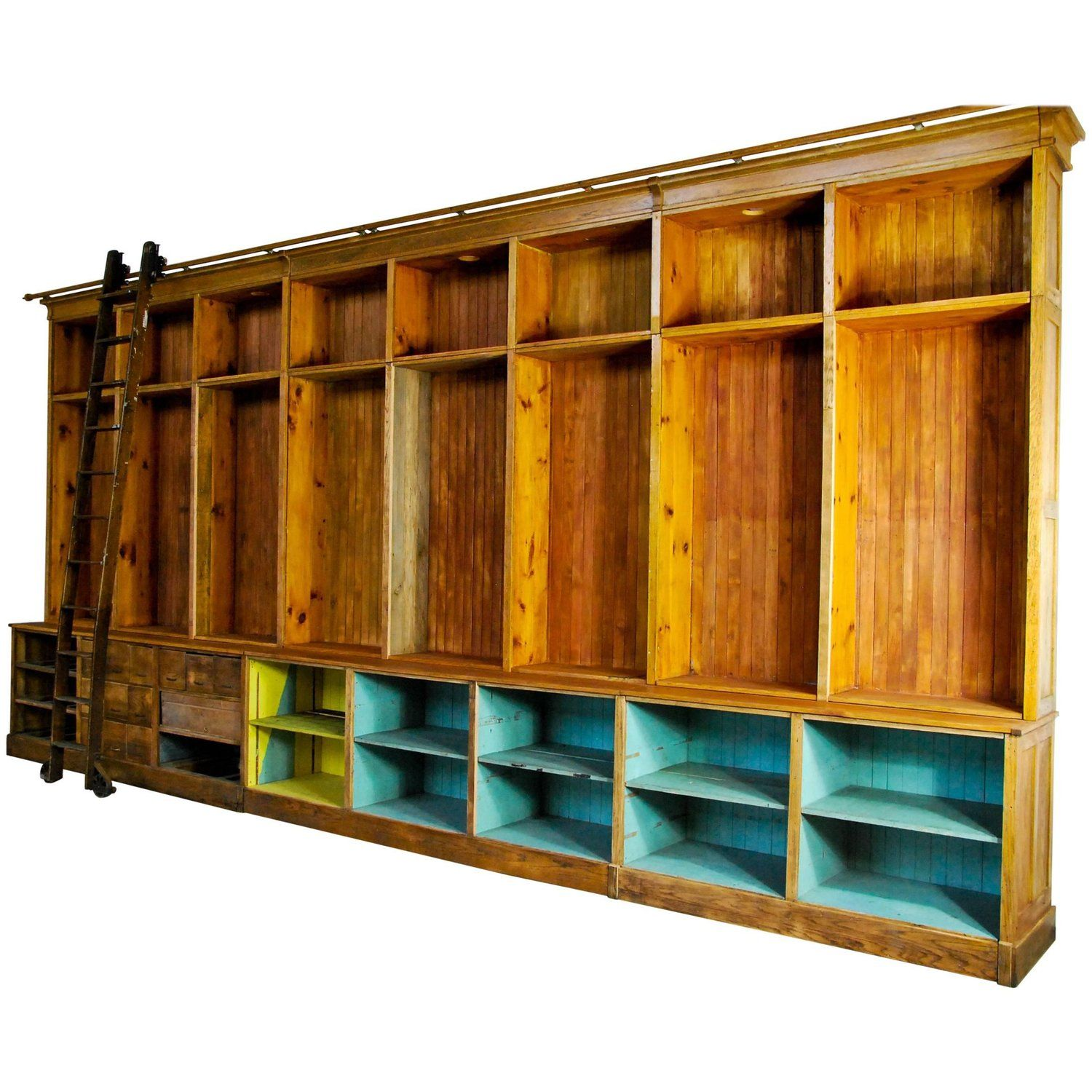 1920 Mercantile Hardware Store Retail Back Bar Cabinet with Rolling