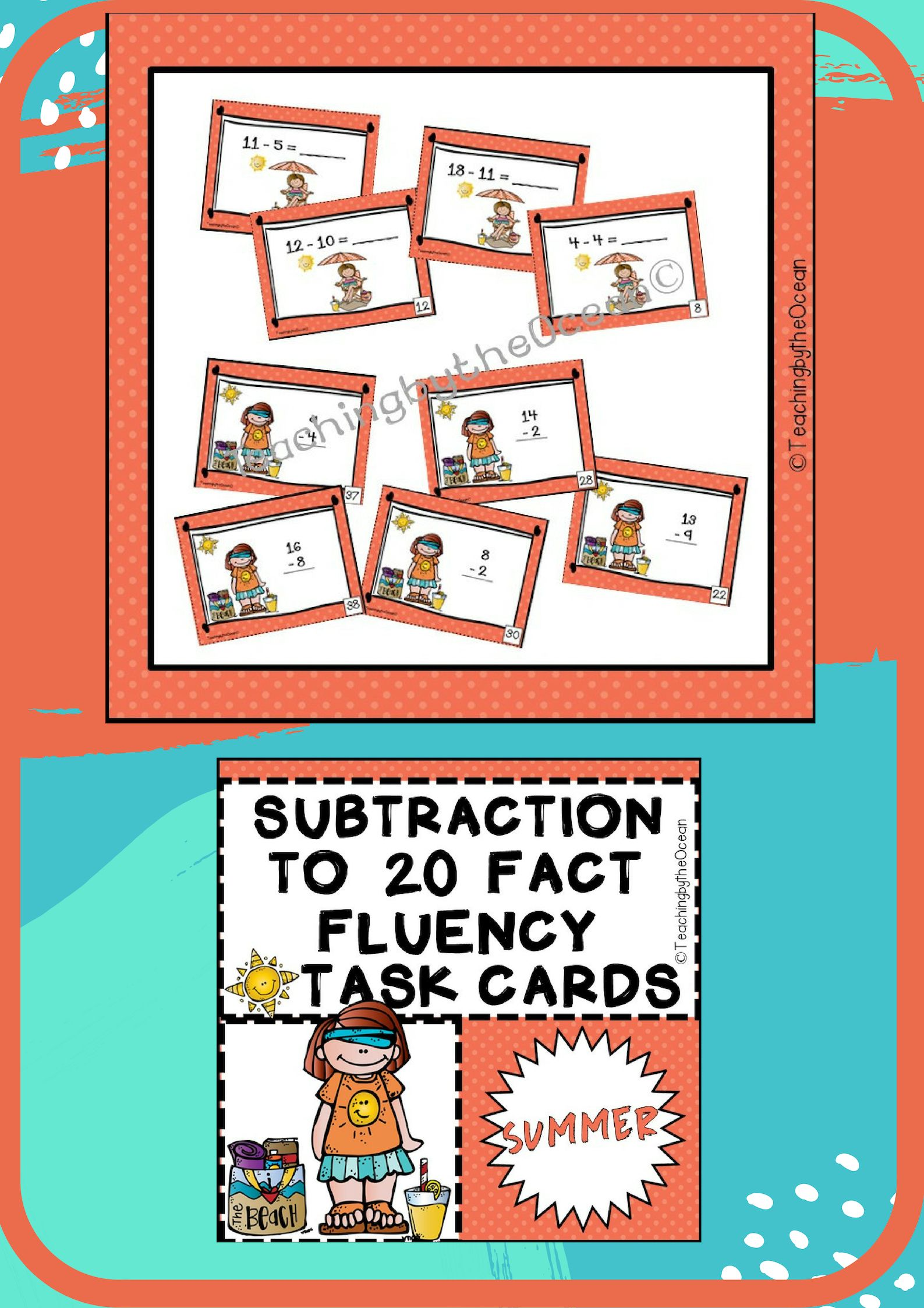 Subtraction To 20 Fact Fluency Task Cards
