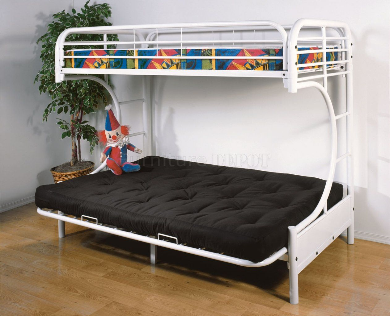 Twin Bunk Bed With Futon Convertible