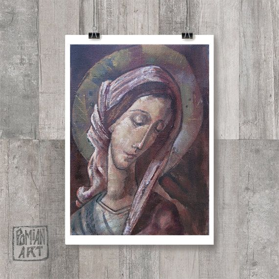 DIGITAL Art Print - Virgin Mary, Mother of God icon, Religious painting, Icon print, Sangria print, Brown print, Digital Poster