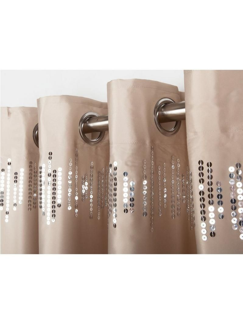 Sequin glamour eyelet curtains in gold u x cm complementing