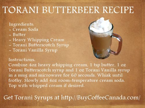 Buy Coffee Canada: Torani ButterBeer Recipe | Dia\'s Party ...