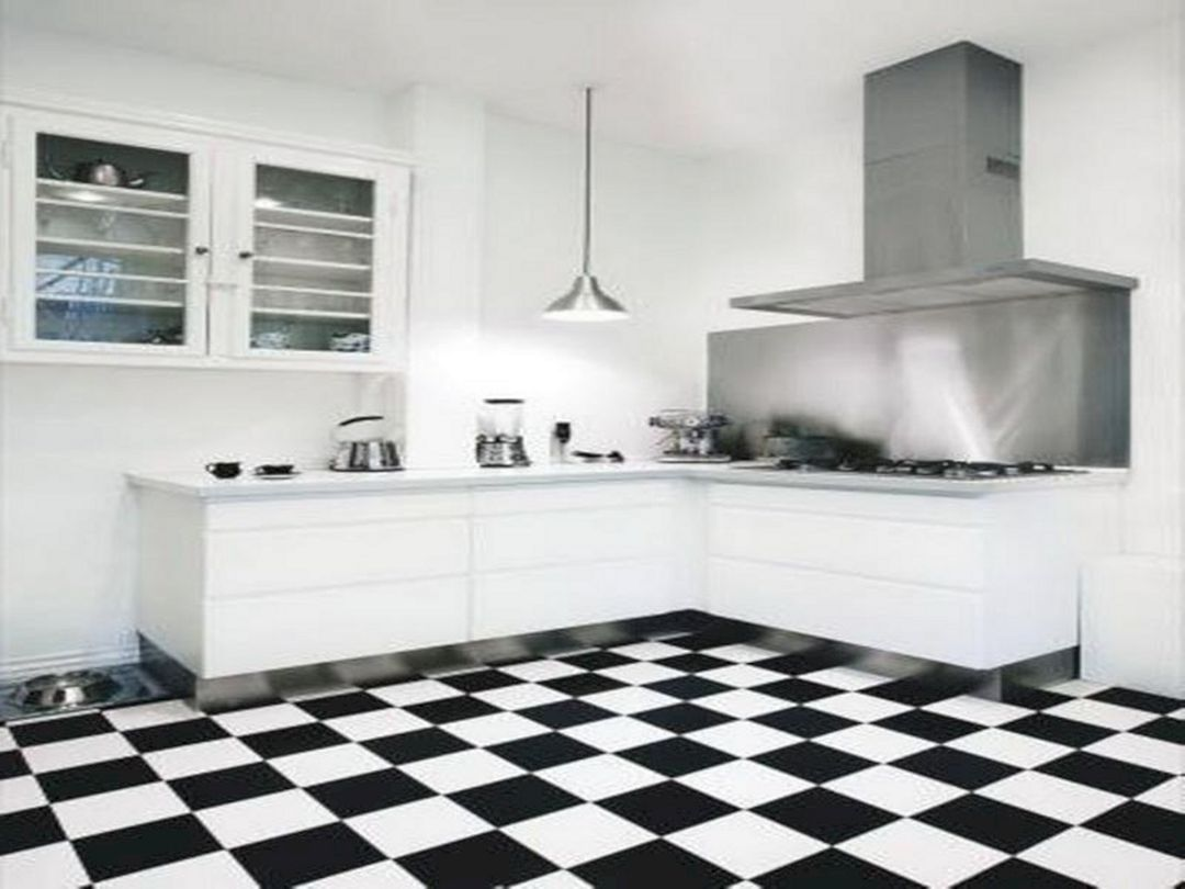 Great Idea 30 Most Popular Kitchen Design With Black White Flooring Ideas Https Usdecoratin White Tile Kitchen Floor White Kitchen Floor White Kitchen Design