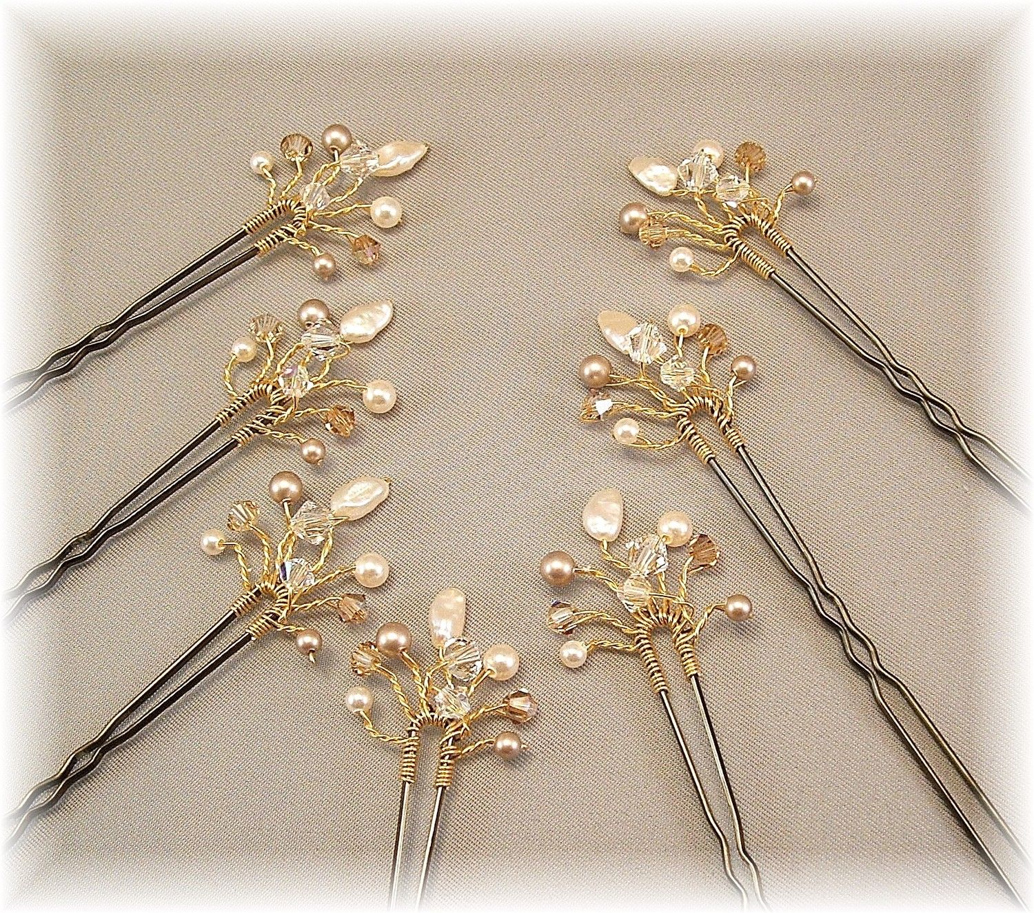 wedding hair accessories, bridal hair pins, golden honey blend
