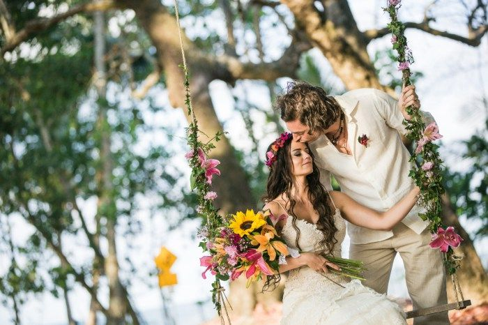 Our bohemian beach wedding in Far North Queensland, Australia. We hung a swing in the forest for pics. More pics at http://muuttolintu.com/2015/11/22/meidan-rantahaat-australiassa/
