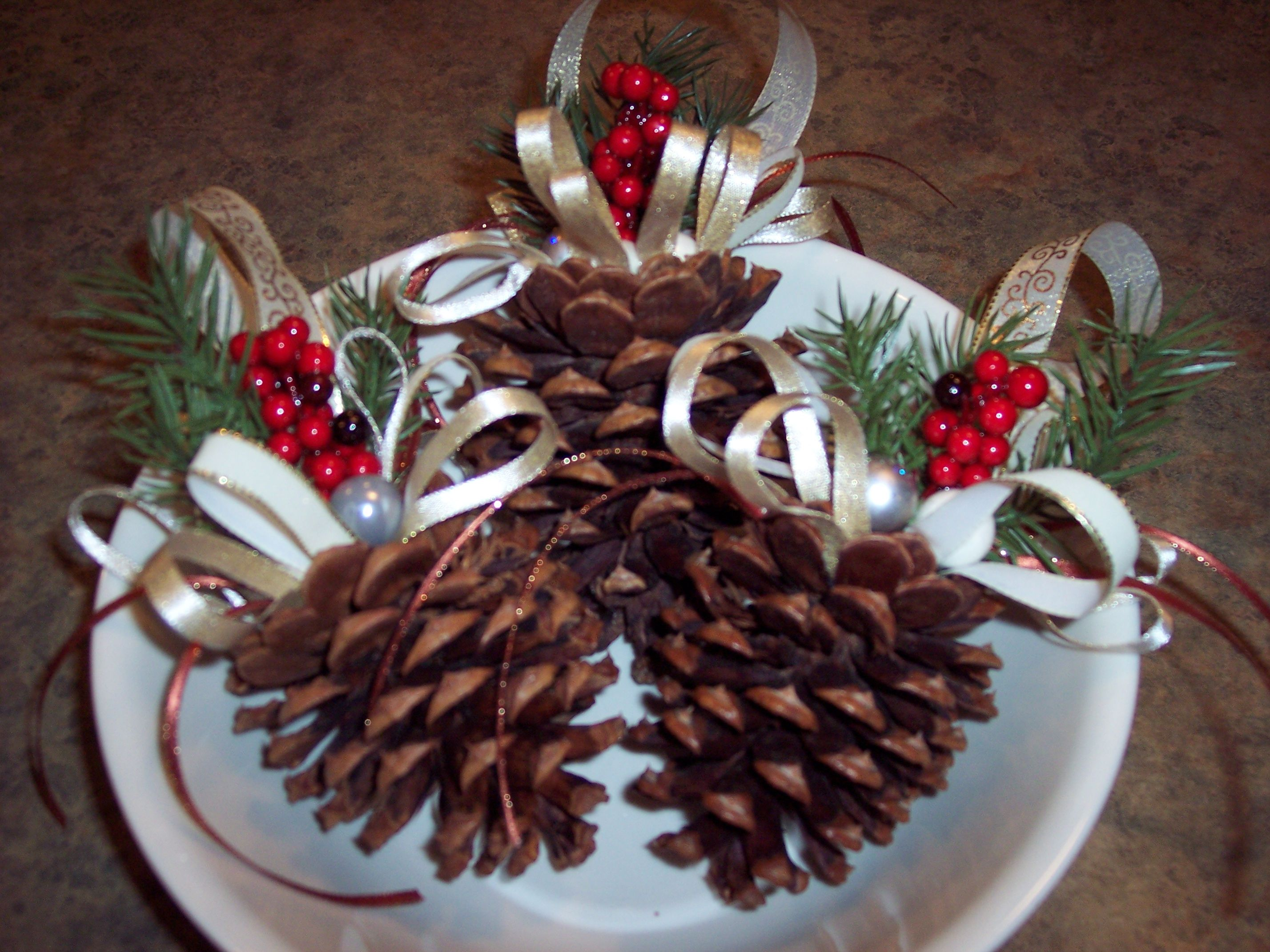 set of 3 small christmas pine cone ornaments that i