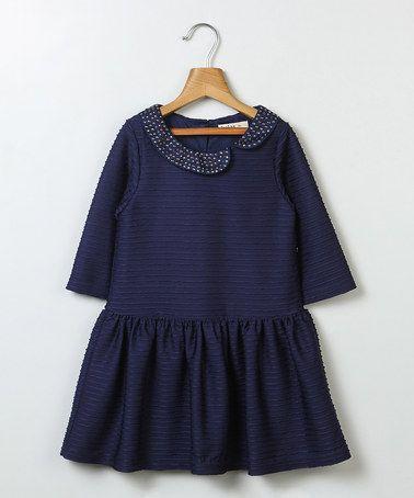 Look at this #zulilyfind! Navy Peter Pan Collar Pleated Dress - Girls #zulilyfinds