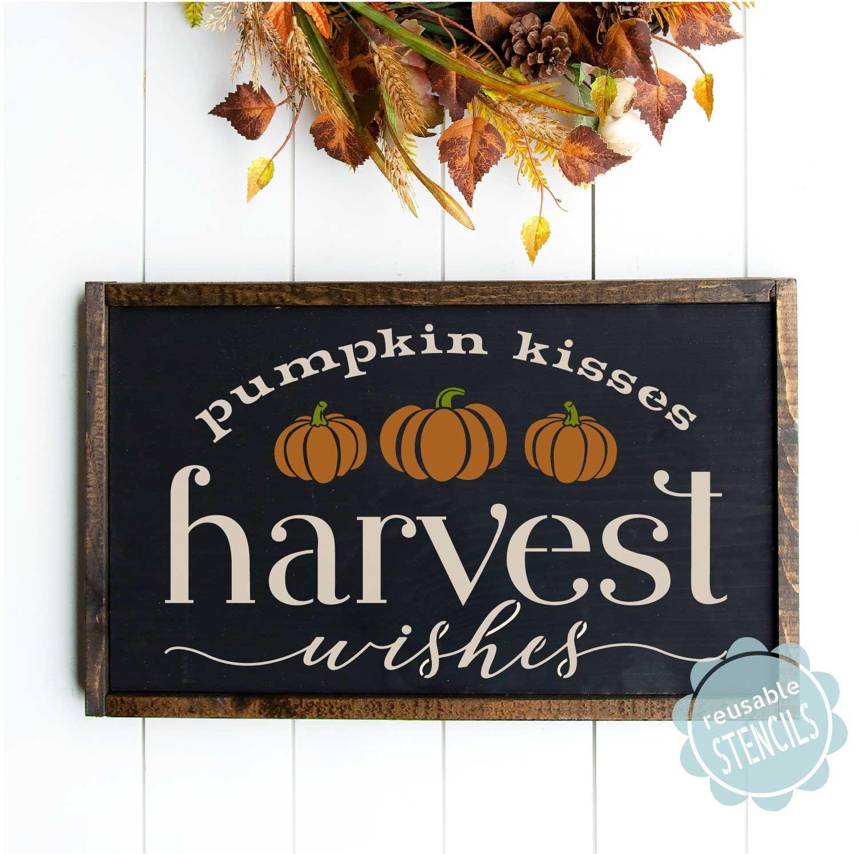 Harvest Wishes Stencil Fall Decor Signs Fall Crafts Diy Fall Decor Diy