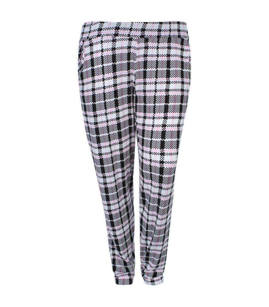529482e23faa1b Black, White & Pink Check Harem Trousers | Plus Size Trousers ...