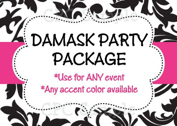 Black and White Damask Invitation Party by CutiesTieDyeBoutique