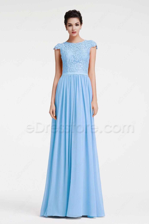 Modest Ice Blue Lace Prom Dress With Cap Sleeves Blue Lace Prom Dress Prom Dresses Long Modest Prom Dresses [ 1500 x 1000 Pixel ]