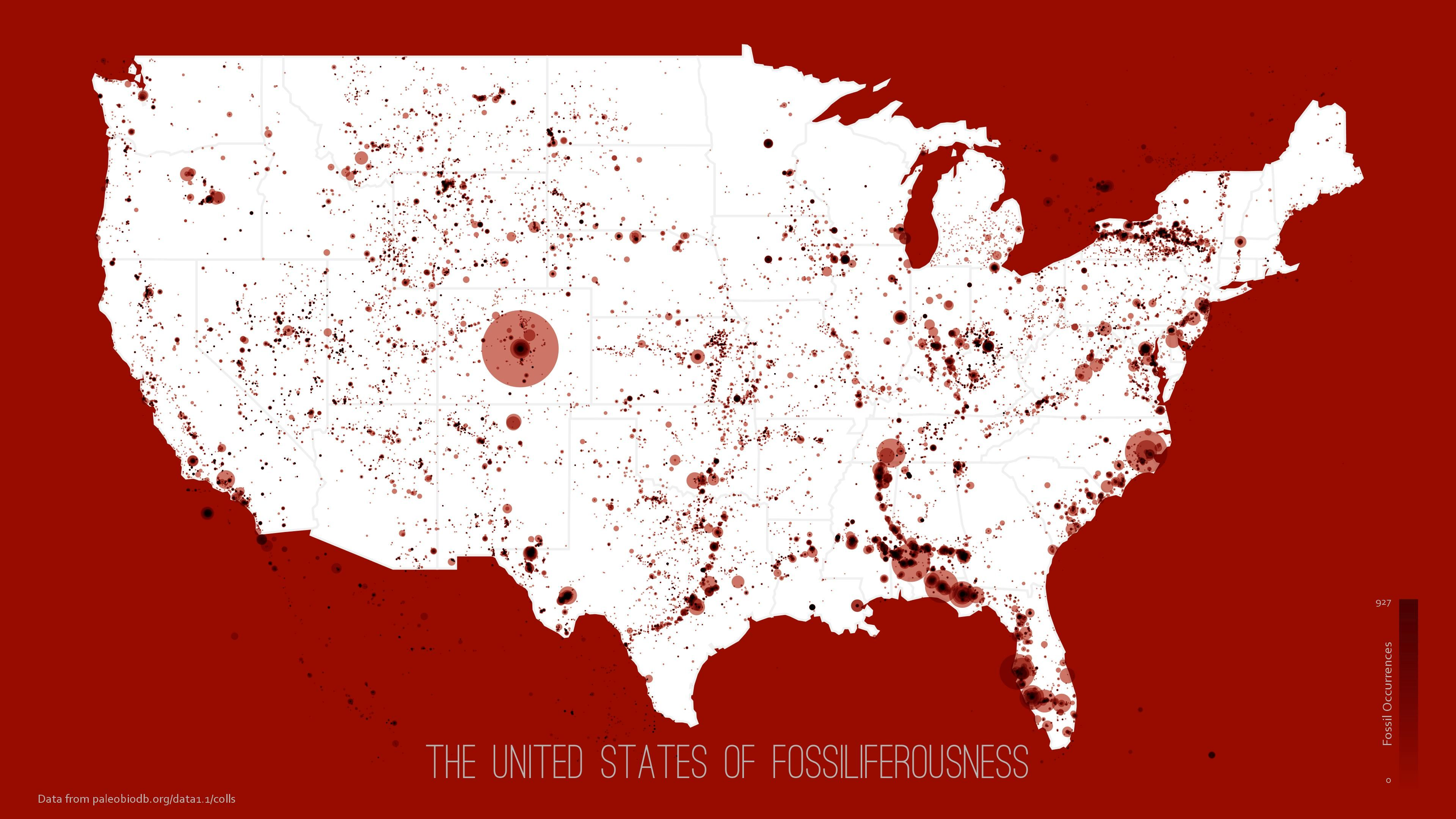 """""""United States of Fossiliferousness"""" - album on Imgur    related article, w/ more details & info: """"Mapping Everywhere Fossils Have Been Found in the U.S."""" http://www.citylab.com/design/2015/07/mapping-everywhere-fossils-have-been-found-in-the-us/398456/ #anthropology #paleontology"""
