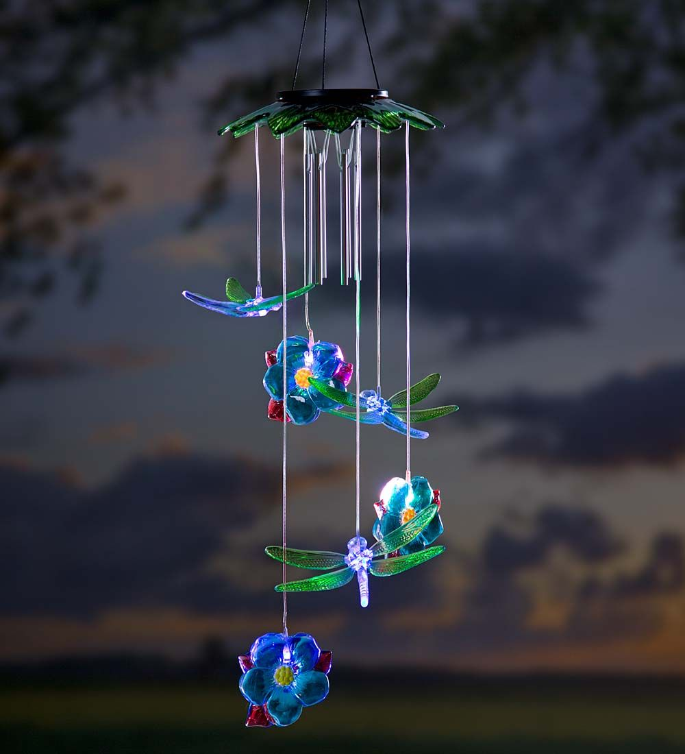 Solar Lights Unique: Solar Dragonflies Mobile With Wind Chime