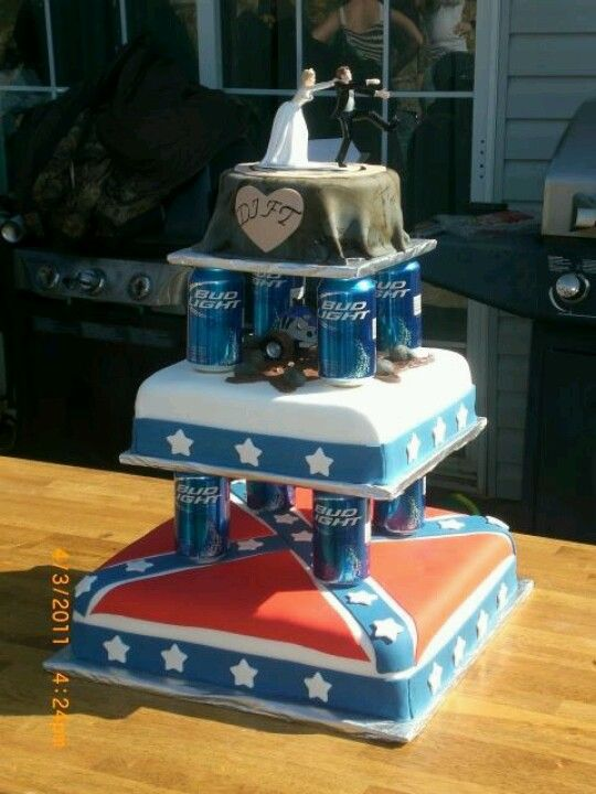 Redneck Wedding Cakei Want To Do This With My Cake N Have Old - Beer Can Wedding Cake
