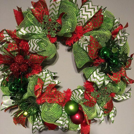 Christmas wreath Deco Mesh Christmas Wreath by DecoWreathBoutique