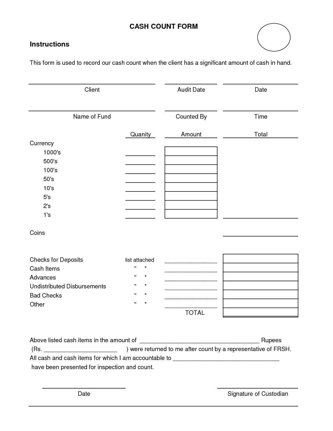 Daily Cash Sheet Template Count Audit Working Papers
