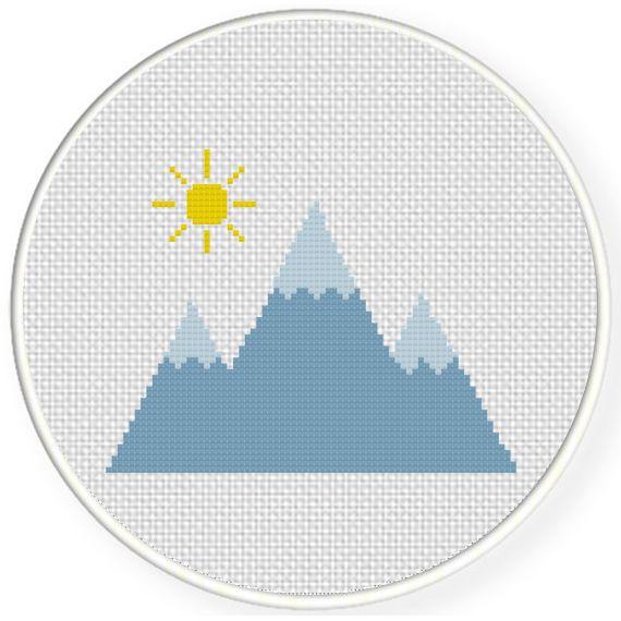 Mountains Cross Stitch Pattern Pastel Easy Cross Stitch Pretty Cross Stitch PDF Pattern Beginner Pattern Outdoorsy