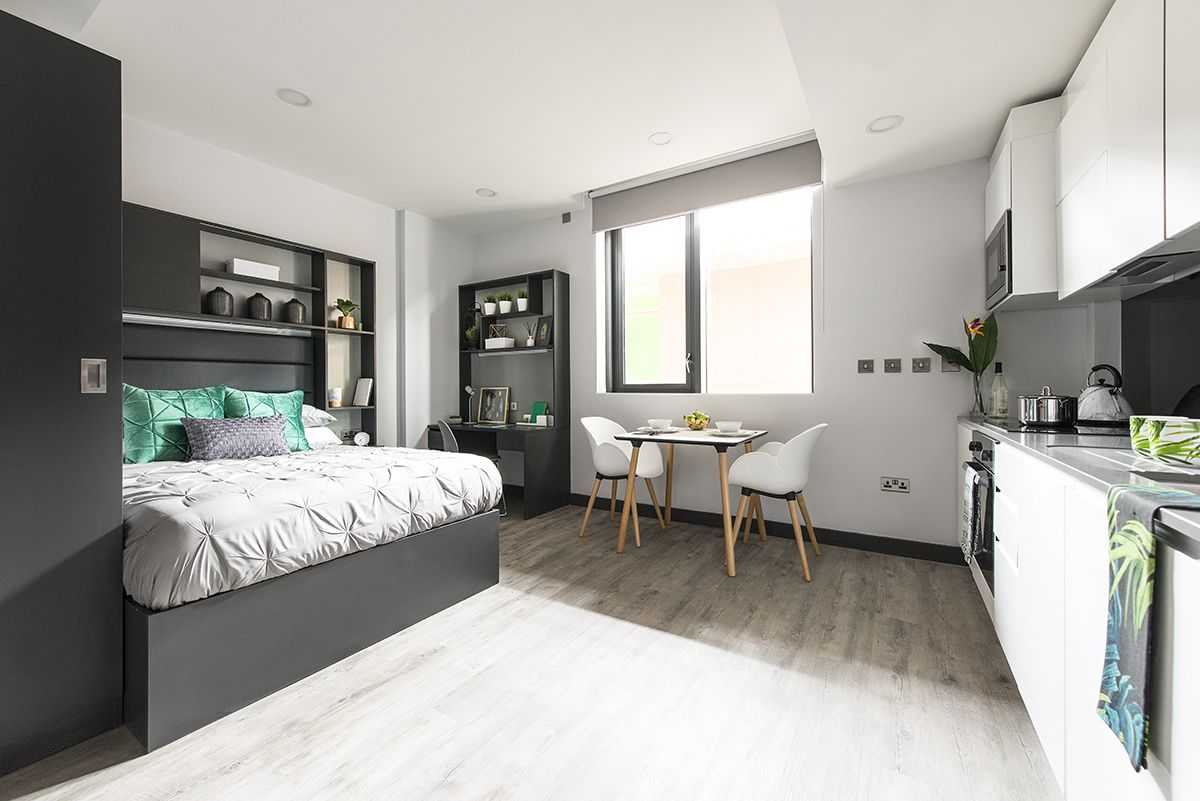 Dublin New Mill Student Accommodation Huge Studio Apartment With A Double Bed En Suite And Kitchen Student House Student Accommodation Dorm Room Essentials
