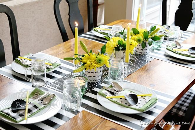 Like the black and white checks with polka dots. Very simple.  Add color with flowers, candles, or napkins and you are good to go.
