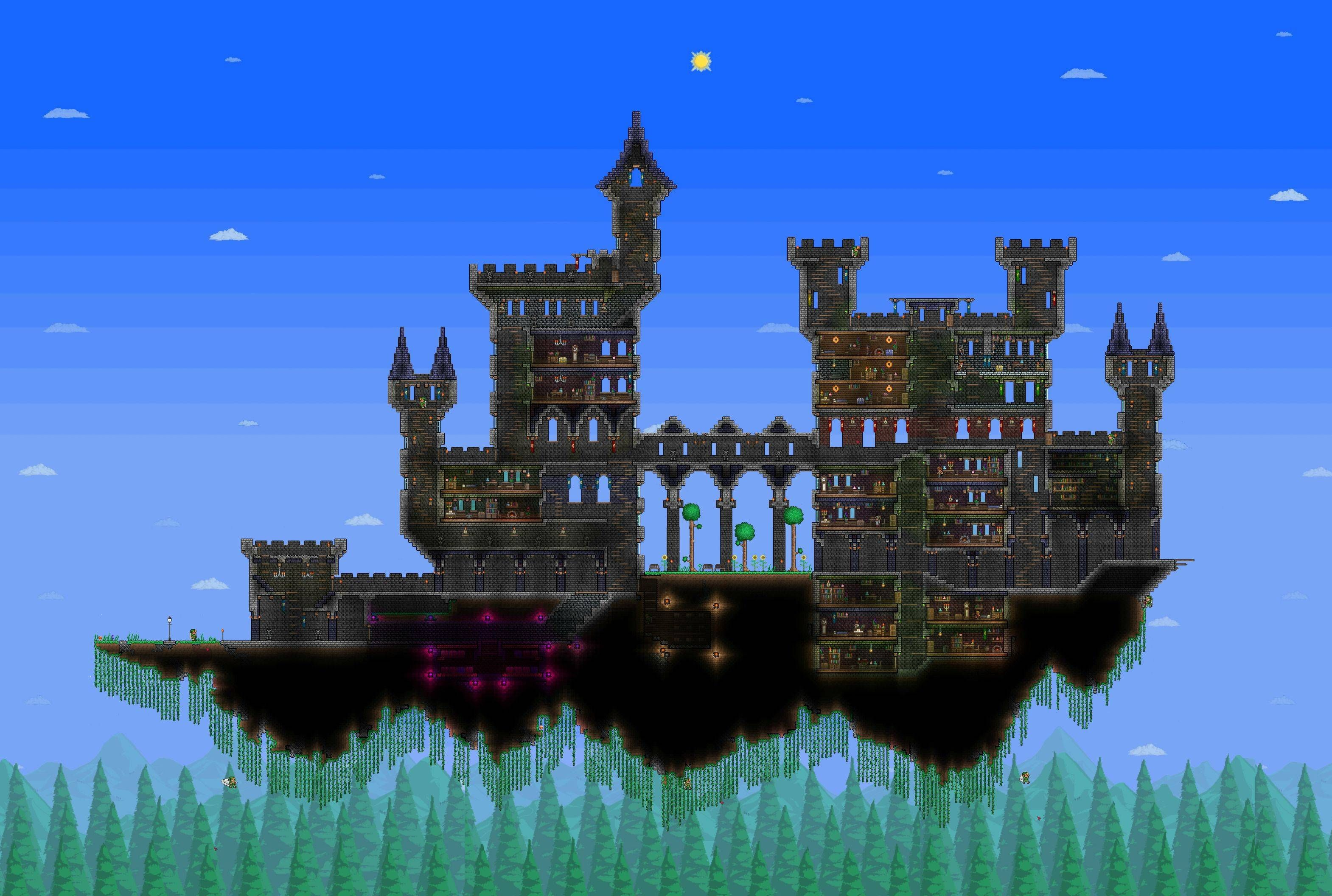 I Got Bored So I Made A Floating Castle Terraria Castle