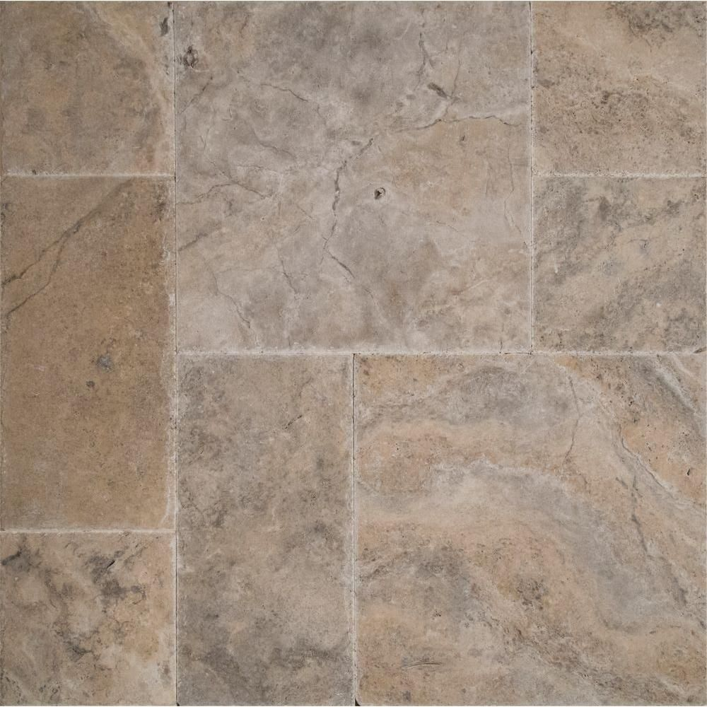 Ms international silver pattern honed unfilled chipped brushed ms international silver pattern honed unfilled chipped brushed travertine floor and wall tile 5 kits 80 sq ft pallet doublecrazyfo Choice Image
