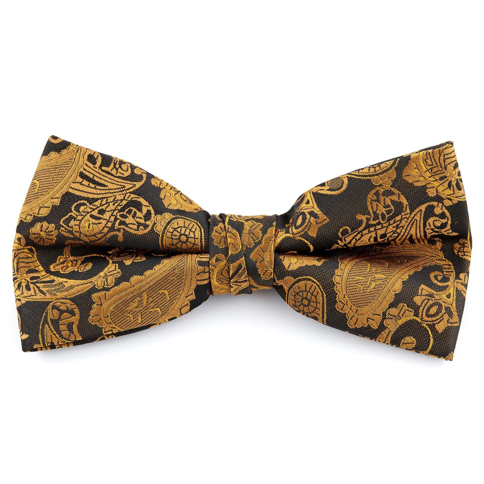 Pajarita Paisley de poliéster en oro y marrón | ¡En stock! El | Tailor Toki