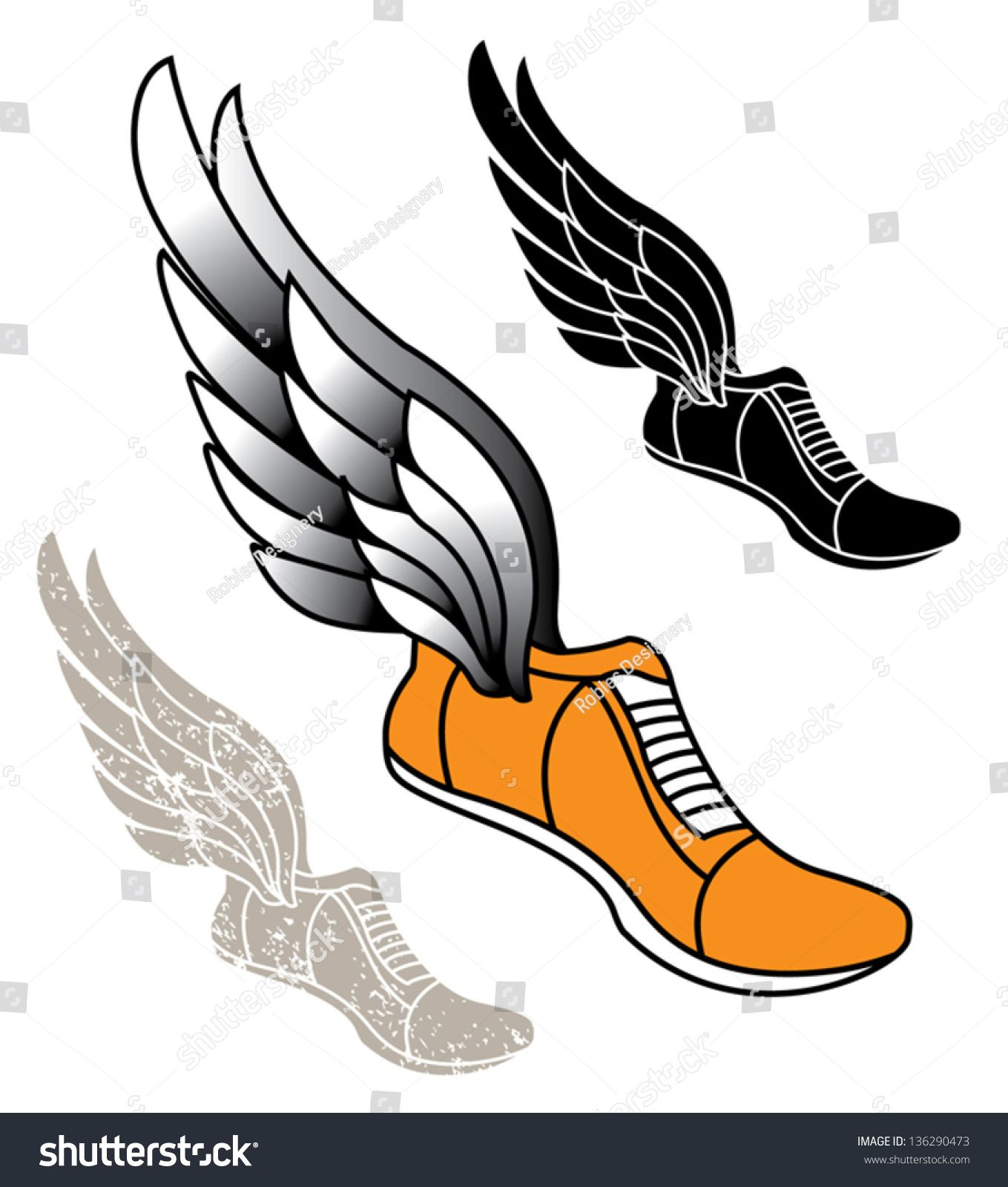 Track athletic sports running shoe logo with wings (With