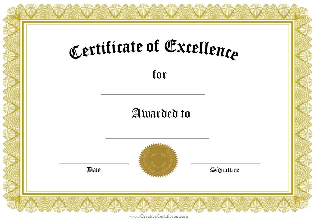 award of excellence school Pinterest Certificate templates