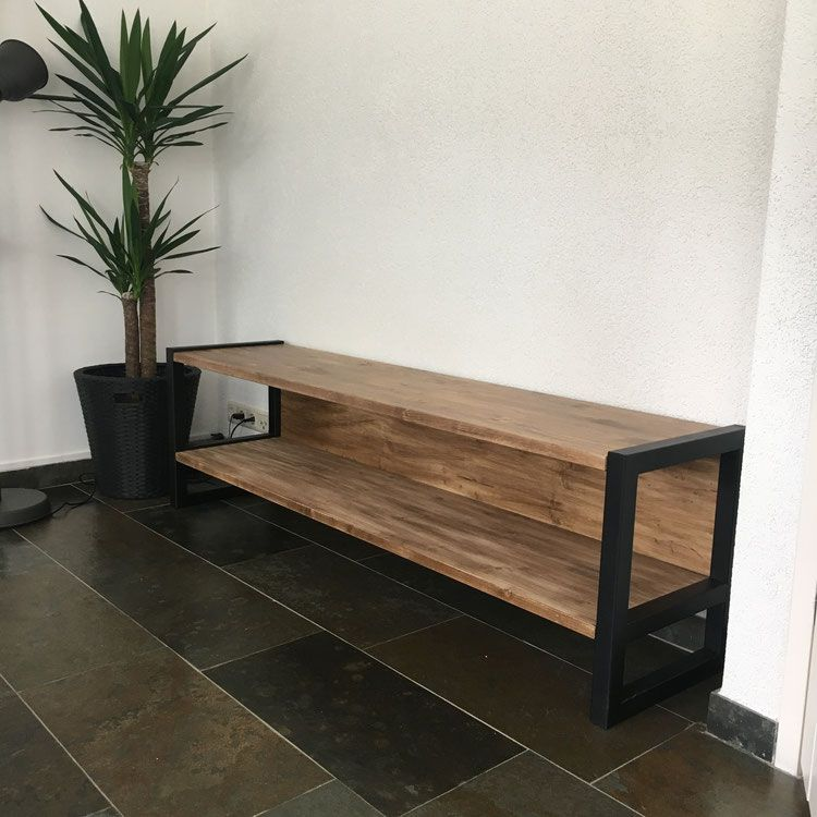 Tv Meubel Met Staal.Industrieel Tv Meubel Staal En Old Wood Livingroom In 2019