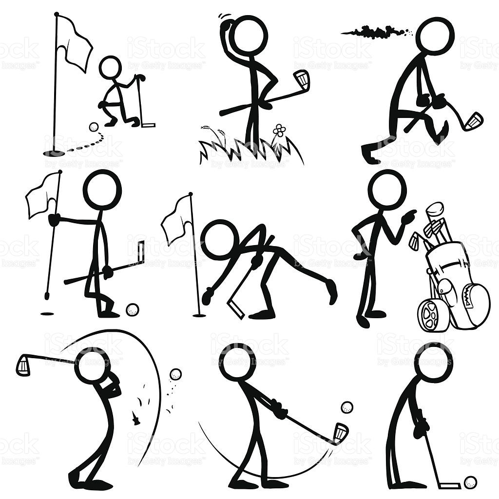 Stickfigures Playing Golf