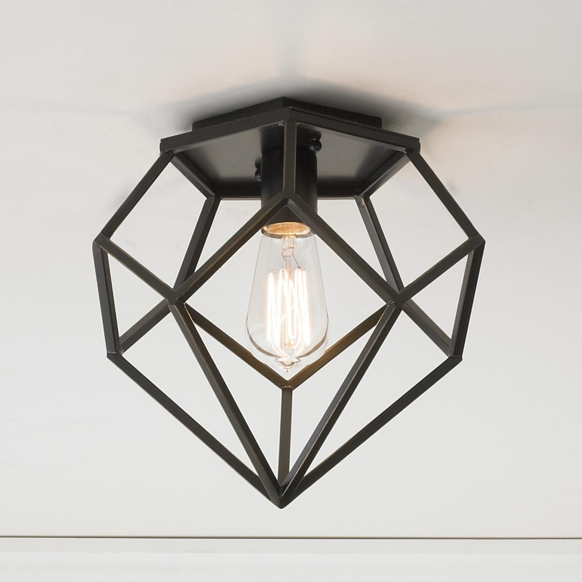 Young house love geometric diamond ceiling light this - Flush mount bathroom ceiling lights ...